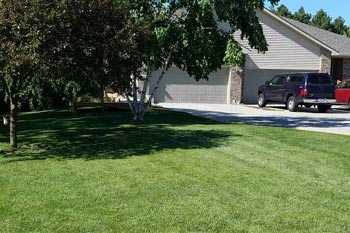 Saginaw home with a professionally mowed and maintained lawn.